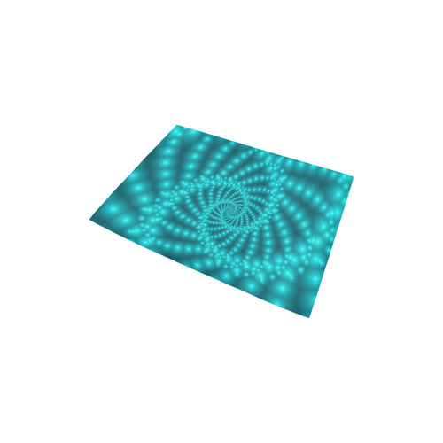 """Glossy Turquoise Beaded Spiral Fractal Area Rug 2'7""""x 1'8''"""