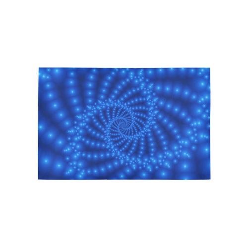 Glossy Royal Blue Beaded Spiral Fractal Area Rug 5'x3'3''