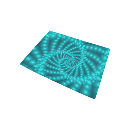 Glossy Turquoise Beaded Spiral Fractal Area Rug 5'3''x4'