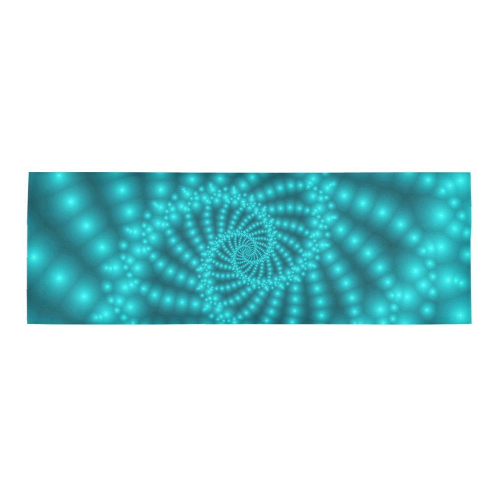 Glossy Turquoise Beaded Spiral Fractal Area Rug 10'x3'3''