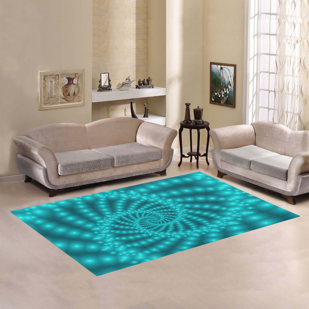 Glossy Turquoise Beaded Spiral Fractal Area Rug7'x5'