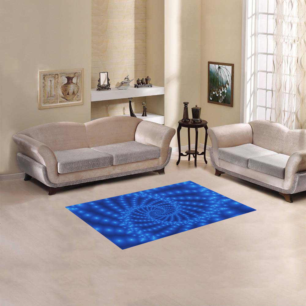 "Glossy Royal Blue Beaded Spiral Fractal Area Rug 2'7""x 1'8''"