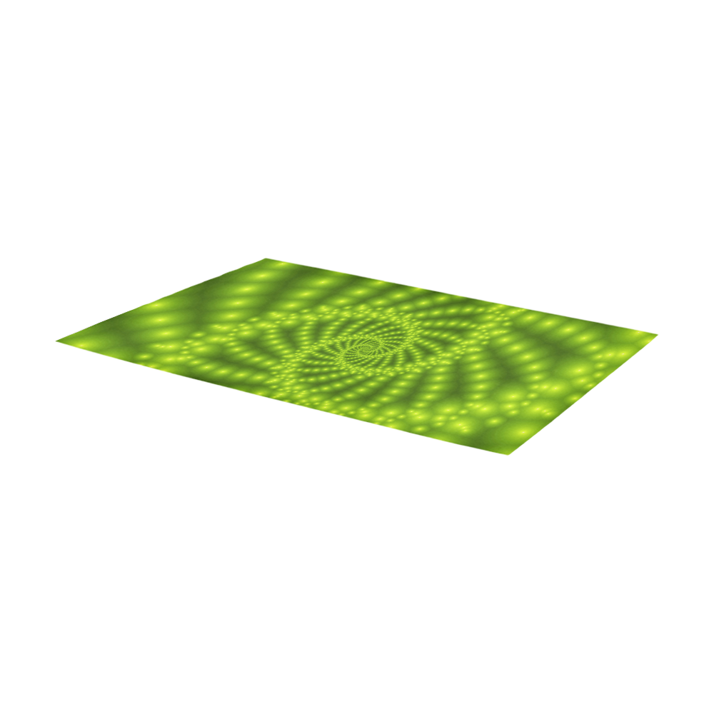 Glossy Lime Green Beaded Spiral Fractal Area Rug 7'x3'3''
