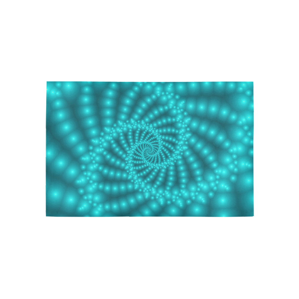Glossy Turquoise Beaded Spiral Fractal Area Rug 5'x3'3''