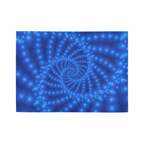 Glossy Royal Blue Beaded Spiral Fractal Area Rug7'x5'