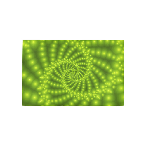 Glossy Lime Green Beaded Spiral Fractal Area Rug 5'x3'3''