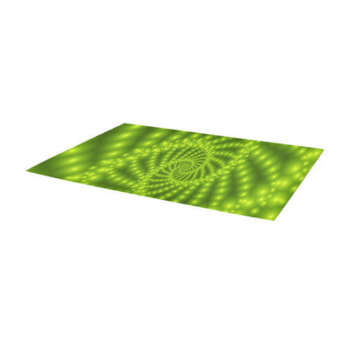 Glossy Lime Green Beaded Spiral Fractal Area Rug 10'x3'3''