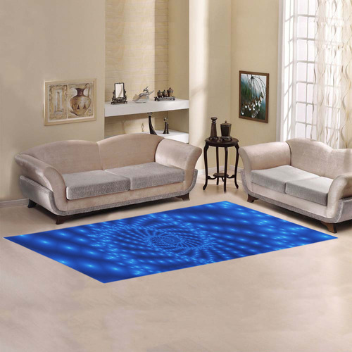 Glossy Royal Blue Beaded Spiral Fractal Area Rug 10'x3'3''