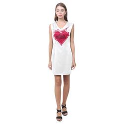 NASTY WOMAN red HEART for POWER WOMEN Phoebe Sleeveless V-Neck Dress (Model D09)