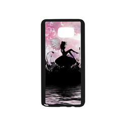 Pink Fairy Silhouette with bubbles Rubber Case for Samsung Galaxy Note5