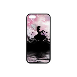 Pink Fairy Silhouette with bubbles Rubber Case for iPhone SE