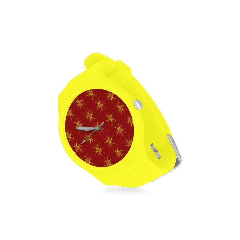 RED SPARKLES Unisex Round Rubber Sport Watch(Model 314)