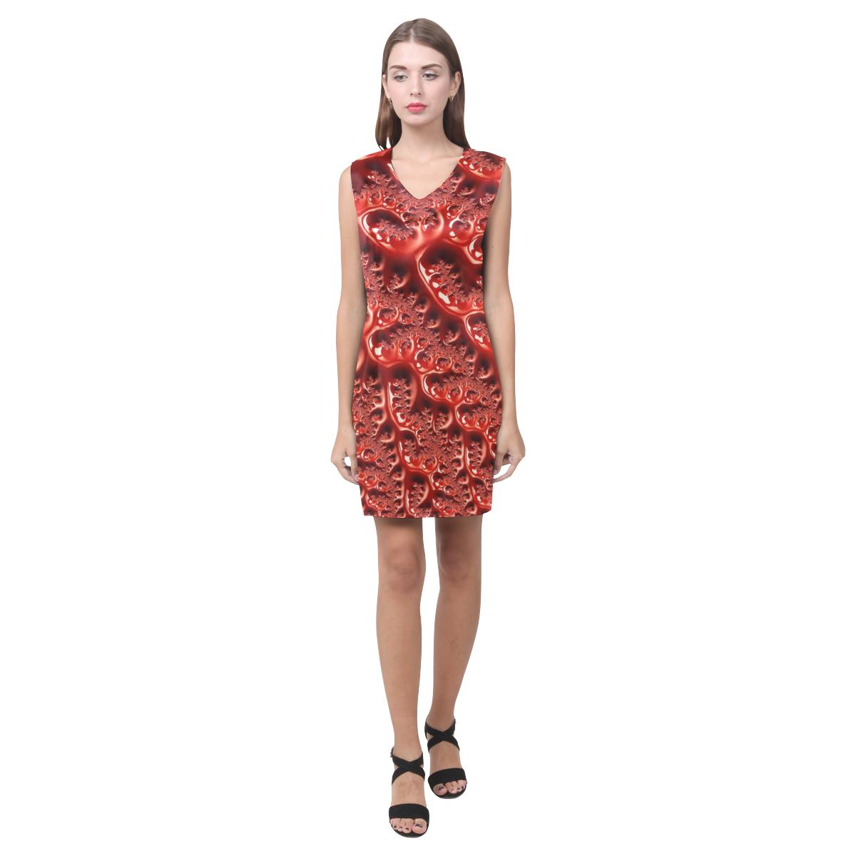 Cool Red Fractal White Lights Phoebe Sleeveless V-Neck Dress (Model D09)