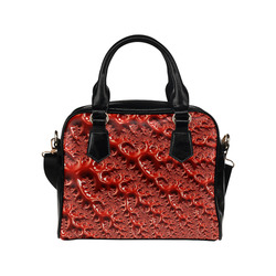 Cool Red Fractal White Lights Shoulder Handbag (Model 1634)