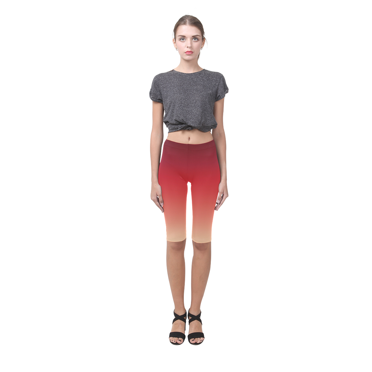 Red Ombre Graduated Color Hestia Cropped Leggings (Model L03)