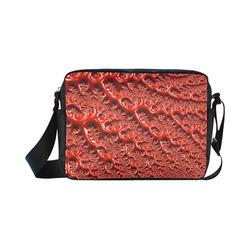 Cool Red Fractal White Lights Classic Cross-body Nylon Bags (Model 1632)
