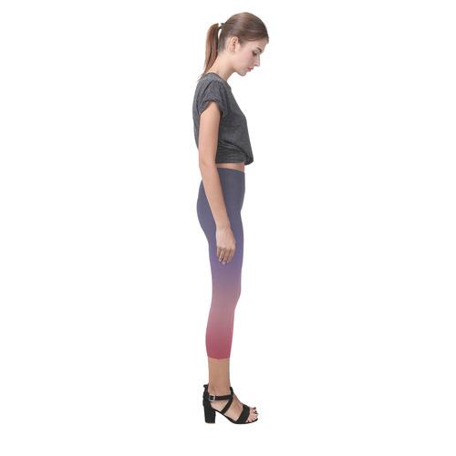 Indigo Violet Ombre Graduated Color Capri Legging (Model L02)