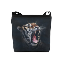 A painted glorious roaring Tiger Portrait Crossbody Bags (Model 1613)