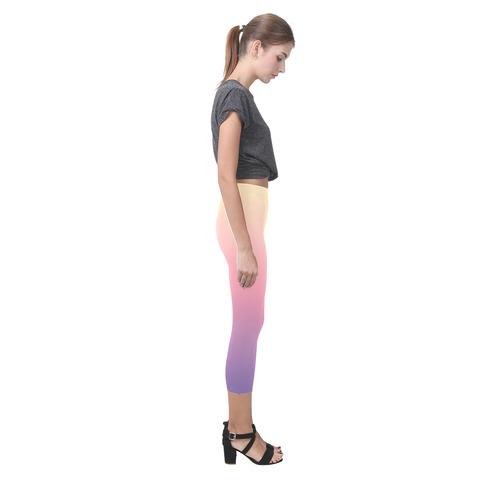 Pink Pastels Ombre Graduated Color Capri Legging (Model L02)