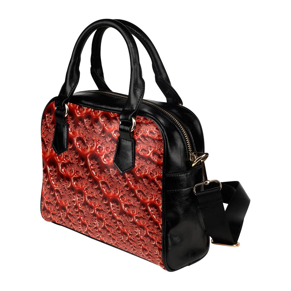 Cool Red Fractal White Lights Shoulder Handbag (Model 1634)
