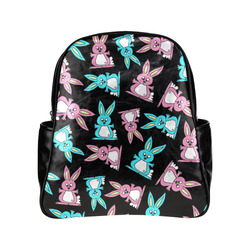 Blue and Pink Bunny Rabbits Multi-Pockets Backpack (Model 1636)