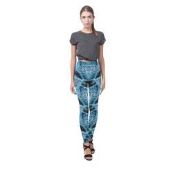 Blue Tiger Fire Cassandra Women's Leggings (Model L01)
