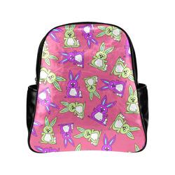 Bright Bunny Rabbit Pattern Multi-Pockets Backpack (Model 1636)