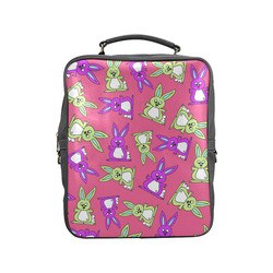 Bright Bunny Rabbit Pattern Square Backpack (Model 1618)