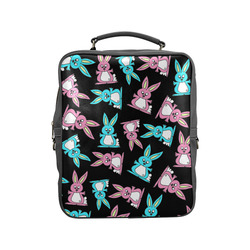 Blue and Pink Bunny Rabbits Square Backpack (Model 1618)