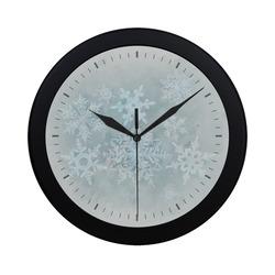 Snowflakes White and blue Circular Plastic Wall clock