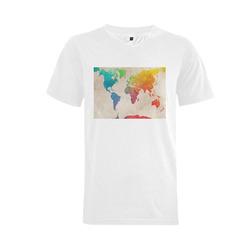 world map Men's V-Neck T-shirt  Big Size(USA Size) (Model T10)