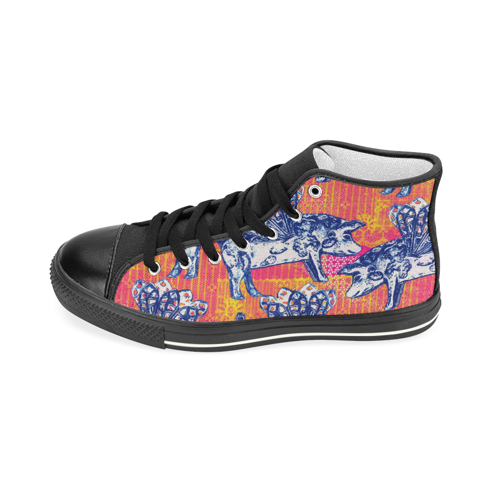 Little flying pigs Women's Classic High Top Canvas Shoes (Model 017)