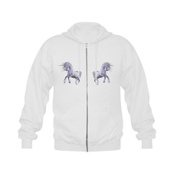 A dreamlike unicorn wades through the water Gildan Full Zip Hooded Sweatshirt (Model H02)