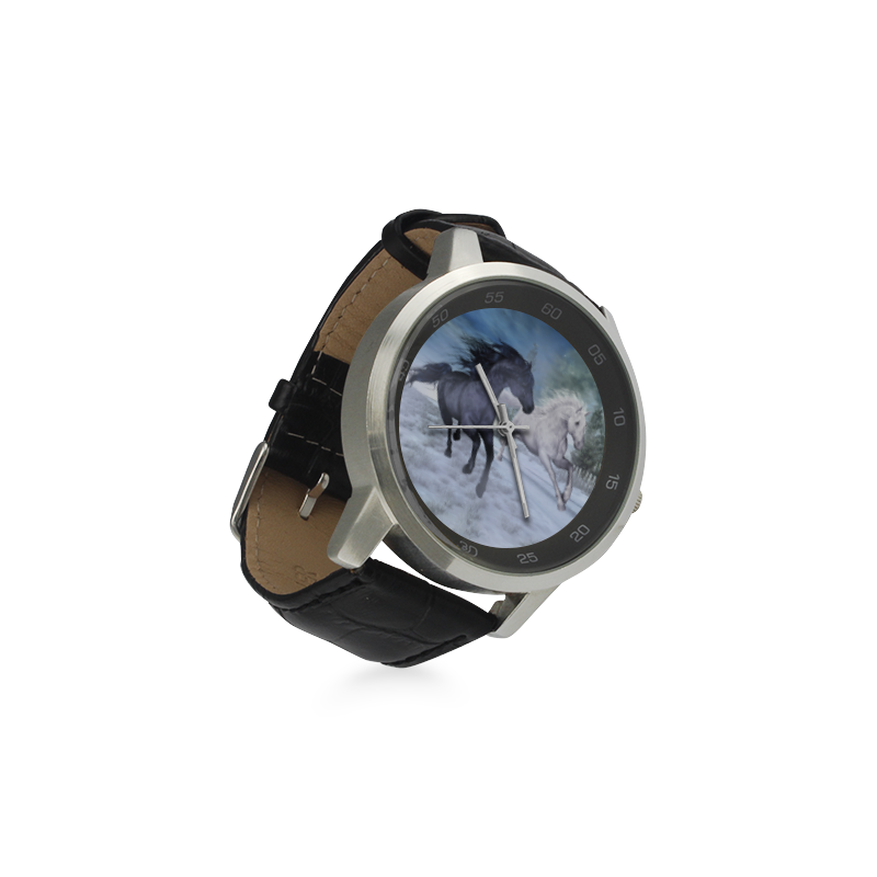 Two horses galloping through a winter landscape Unisex Stainless Steel Leather Strap Watch(Model 202)