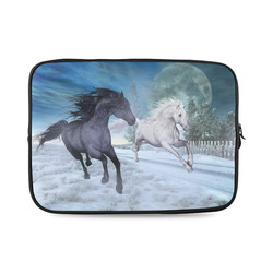 Two horses galloping through a winter landscape Custom Laptop Sleeve 14''