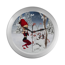 Winter Christmas Fairy Tale Silver Color Wall Clock