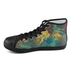 flowers Women's High Top Canvas Shoes (Model 002)