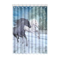 "Two horses galloping through a winter landscape Window Curtain 52"" x 72""(One Piece)"