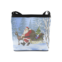 Santa and his Reindeer in the forest Christmas Crossbody Bags (Model 1613)