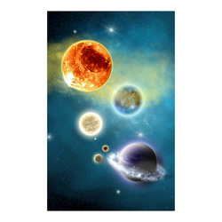 """Space scenario with  meteorite sun and planets Poster 23""""x36"""""""