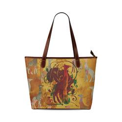 Magic Africa Giraffes Ornaments grunge Shoulder Tote Bag (Model 1646)