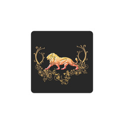 Awesome lion in gold and black Square Coaster