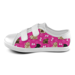 Pugs and Bones on Fuchsia Velcro Canvas Kid's Shoes (Model 008)
