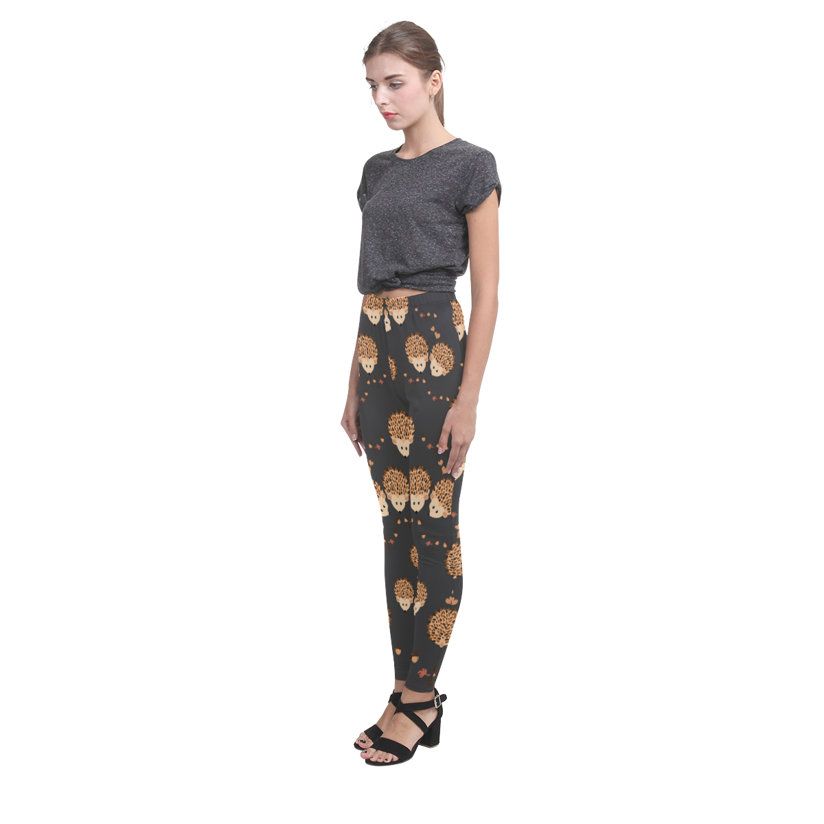 Hedgehogs in autumn Cassandra Women's Leggings (Model L01)