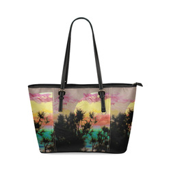 Rainbow Moon by Martina Webster Leather Tote Bag/Small (Model 1640)