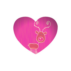 Heart mouse pad : with reindeer. Tip for Christmas Gift purple Heart-shaped Mousepad