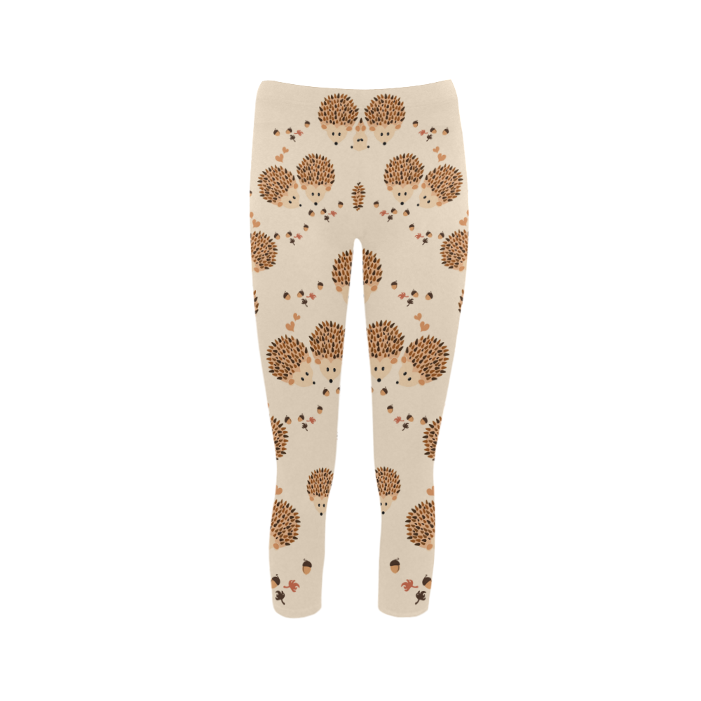 Hedgehogs in autumn Capri Legging (Model L02)