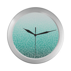 Ombre turquoise blue and white swirls doodles Silver Color Wall Clock