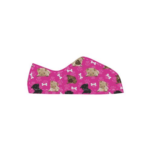 Pugs and Bones on Fuchsia Velcro Canvas Kid's Shoes (Model 008)