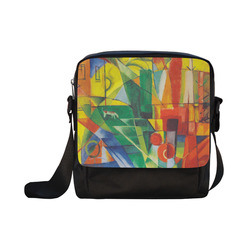 Landscape with dog, house and cow by Franz Marc Crossbody Nylon Bags (Model 1633)